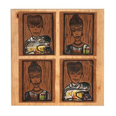 "Jesse Walters Figural Mixed Media Composition ""Self Portrait 4"""