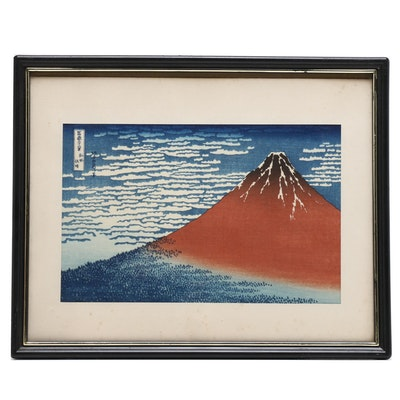 "Japanese Ukiyo-e Woodblock after Katsushika Hokusai ""South Wind, Clear Sky"""
