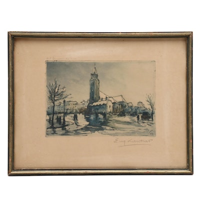 """""""St Germain des Pres"""" Etching with Aquatint"""