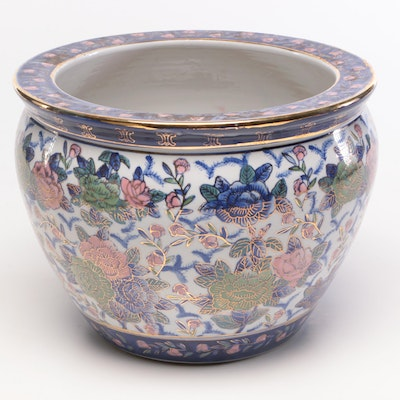 Chinese Porcelain Fish Bowl Planter, Mid to Late 20th Century