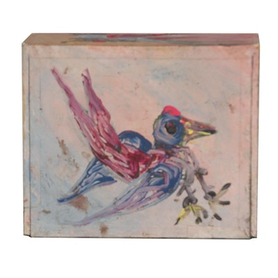 Robert Wright Acrylic Folk Painting on Cigar Box