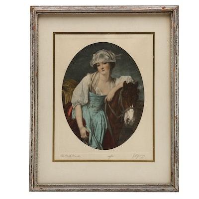 "Hand-Colored Photogravure After Jean-Baptiste Greuze ""The Milk Maid"""