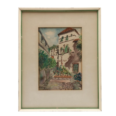 Spanish Style Courtyard Watercolor Painting