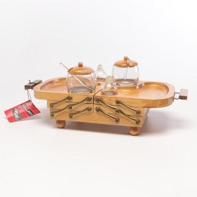 Karoff Originals Wooden Fold-Away Buffet Server, Mid-Century