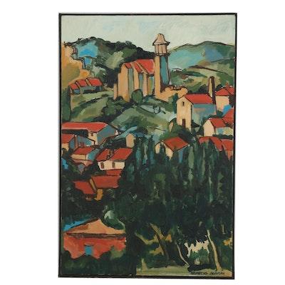 Nemecio Huaman Oil Painting of Post Impressionist Landscape