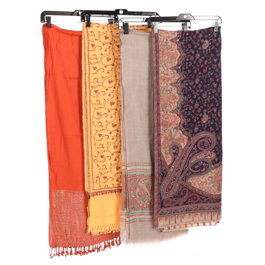 Woven Wool and Cashmere Shawls Including Hand-Embroidered, Made in India