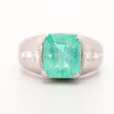 Platinum 3.32 CT Emerald and Diamond Ring