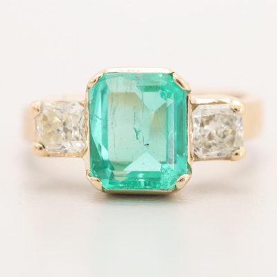 18K Yellow Gold 2.08 CT Emerald and Diamond Ring