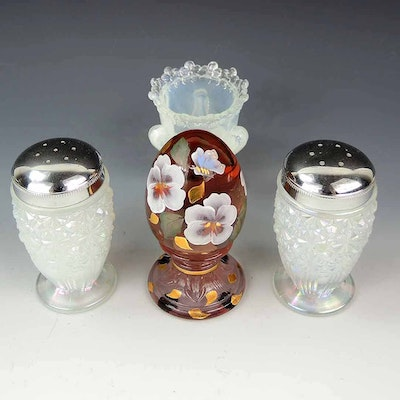 Fenton Opalescent Salt and Pepper Shaker, Hand Painted Egg, and More