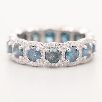 Platinum 3.35 CTW Blue Diamond and Diamond Band
