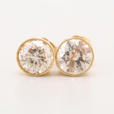 14K Yellow Gold 1.45 CTW Diamond Stud Earrings