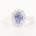 14K White Gold Sapphire and 1.08 CTW Diamond Ring