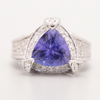 14K White Gold 4.80 CT Tanzanite and Diamond Ring
