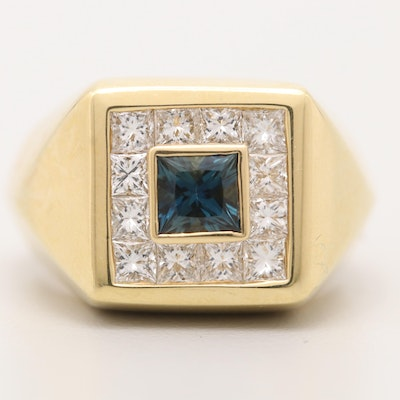 18K Yellow Gold 1.33 CT Sapphire and Diamond Ring