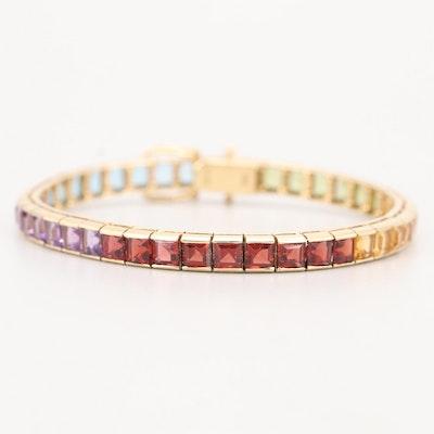 14K Yellow Gold Multi-Colored Gemstone Bracelet