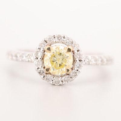 14K White Gold 1.17 CTW Fancy Yellow Diamond and Diamond Ring with GIA
