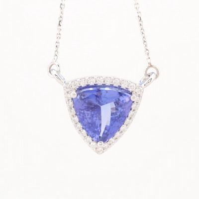 18K White Gold 6.49 CT Tanzanite and Diamond Pendant Necklace with AGL Report