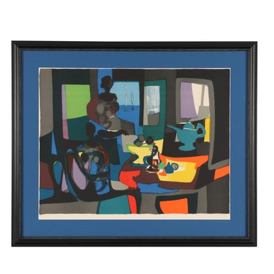 Marcel Mouly Abstract Lithograph, Late 20th Century