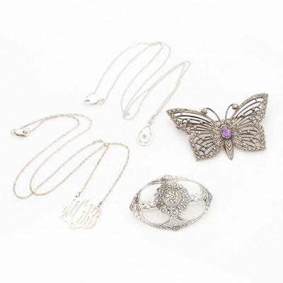 Vintage Sterling Gemstone Necklaces and Brooches Including Butterfly Motif