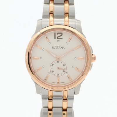 """Sultana """"Bernice"""" Rose Gold Tone and Stainless Steel Wristwatch"""