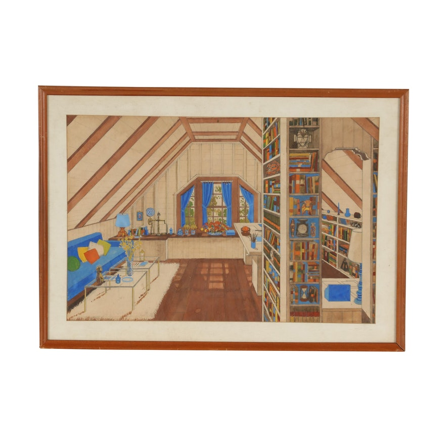 Mid 20th Century Watercolor Interior Design Illustration