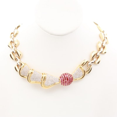 14K Yellow Gold 3.98 CTW Diamond and Ruby Necklace