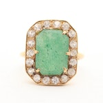 18K Yellow Gold Aventurine and White Sapphire Halo Ring