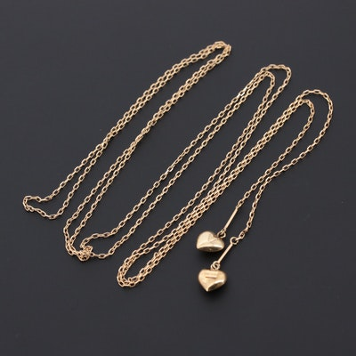 18K Yellow Gold Heart Lariat Necklace