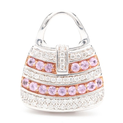 Mirabelle 18K White Gold Pink Sapphire and Diamond Purse Pendant