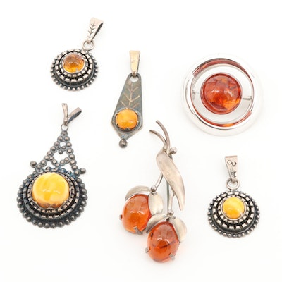 Sterling Silver and 835 Silver Amber Pendants and Brooches
