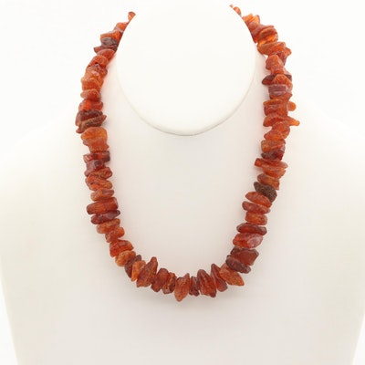 Amber Beaded Necklace with Sterling Silver Clasp