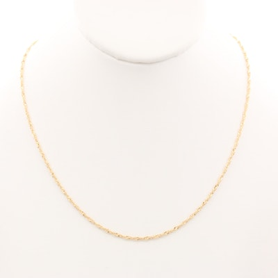 18K Yellow Gold Singapore Chain Necklace