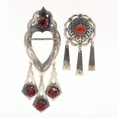 Sterling Silver Red Glass and Amber Brooches