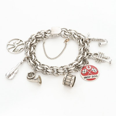 Sterling Silver Charm Bracelet with Charms and Enamel