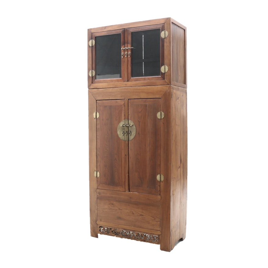 Chinese Style Cherry Finish Cabinet, Early to Mid 20th Century