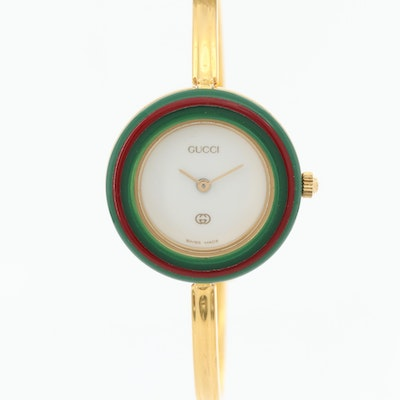 Gucci Gold Tone Quartz Wristwatch with Interchangeable Bezels