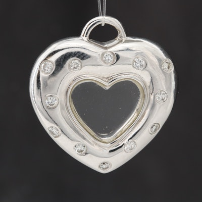 14K White Gold Diamond and Glass Heart Pendant