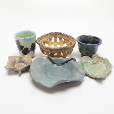 Mary Lucas Handbuilt Stoneware Basket, Bowls, and Dishes