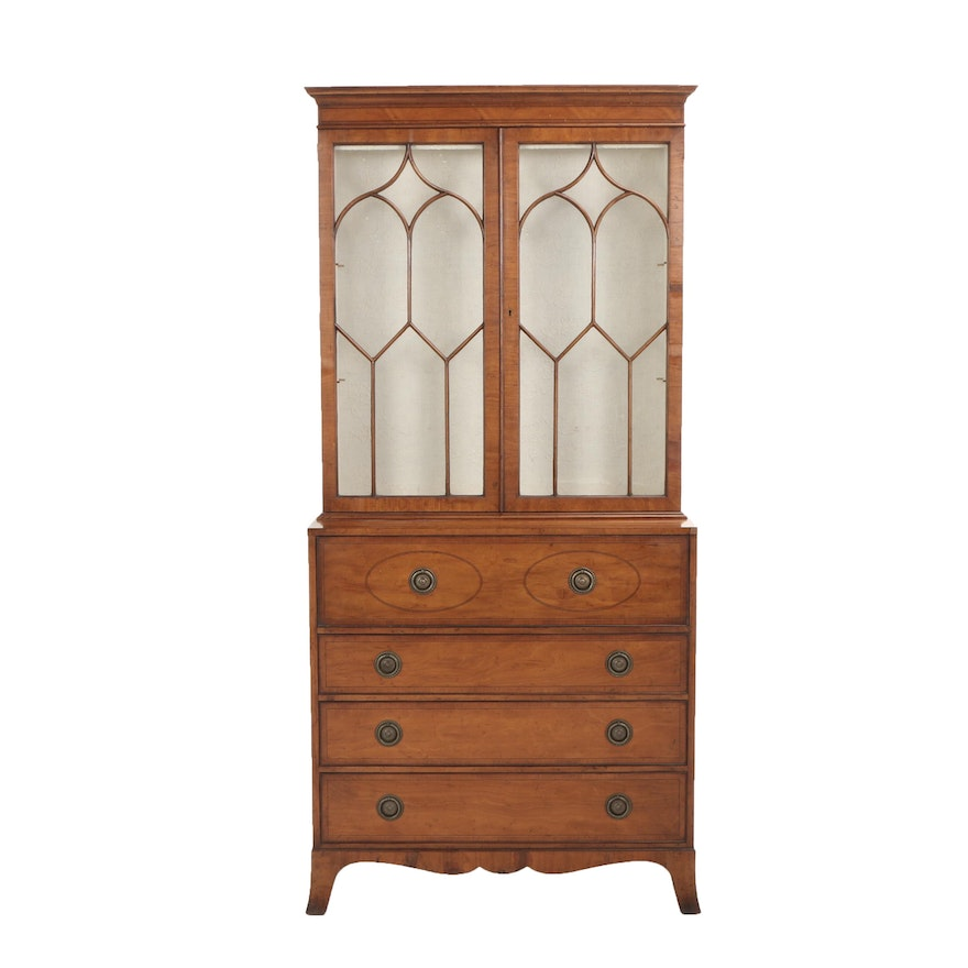 Baker Furniture, George III Style String-Inlaid Satinwood Secrétaire Bookcase