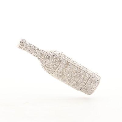 Sterling Silver Diamond Pave Wine Bottle Pendant