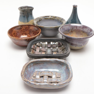 Handbuilt and Thrown Stoneware Woven Baskets, Bowls and Vases, Contemporary