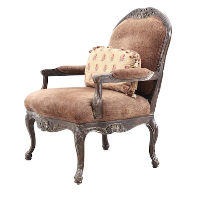 Henredon Louis XV Style Carved Wooden Fauteuil with Decorative Pillow