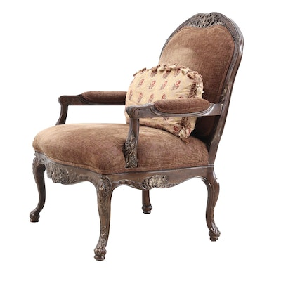 Henredon Louis XV Style Carved Wood Upholstered Armchair