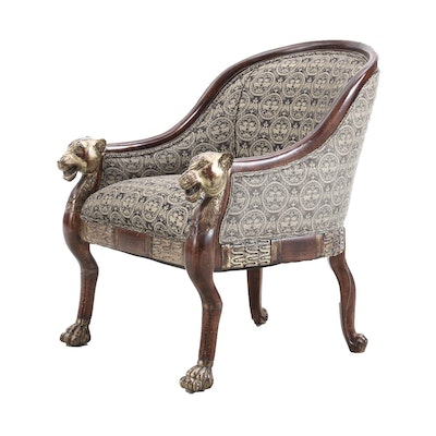 Empire Style Upholstered Armchair with Tiger Motif Arms, Late 20th Century