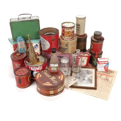 Collectible Food Storage Tins and Household Ephemera