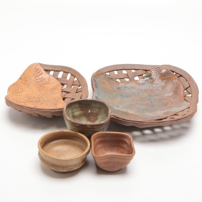 Mary Lucas Handbuilt Woven Stoneware Baskets and Other Earthenware Bowls