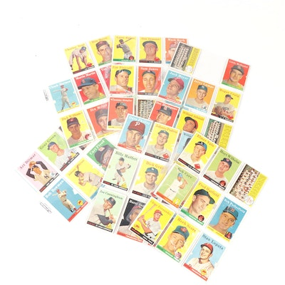 1958 Topps Baseball Cards with Gil Hodges and Hoyt Wilhelm