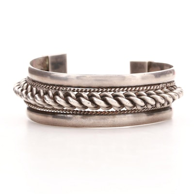 Vintage Lebanese Sterling Silver Cuff Bracelet with Braided Wire Work