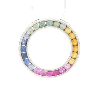 14K White Gold Fancy Sapphire Circle Pendant