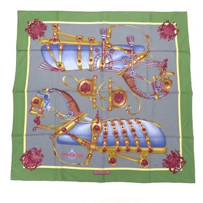 """Hermès Paris """"Harnais de Cour"""" Silk Scarf Designed by Philippe Ledoux"""